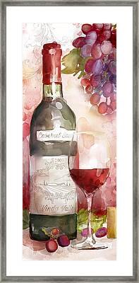 Redwinewatercolor Framed Print by Mauro DeVereaux