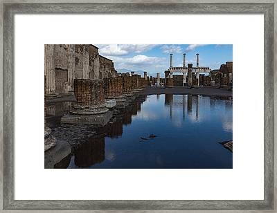 Reflecting On Ancient Pompeii - The Giant Rain Puddle View Framed Print by Georgia Mizuleva