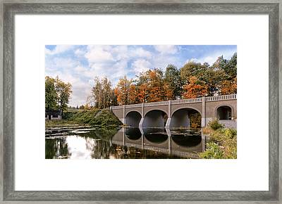 Reflection Bridge Framed Print by Peter Chilelli