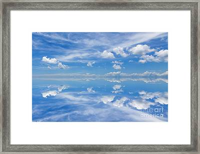 Reflection Of Beautiful Blue Sky With Clouds Framed Print by Caio Caldas