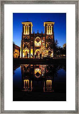 Reflection Of San Fenando Cathedral Framed Print by Iris Greenwell