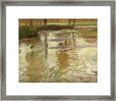 Reflections On The Bridge Framed Print by Frits Thaulow