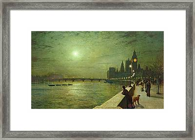 Reflections On The Thames Framed Print by John Atkinson Grimshaw