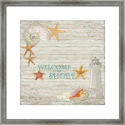 Refreshing Shores - Welcome To The Shore Lighthouse Framed Print by Audrey Jeanne Roberts