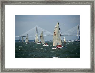 Regatta In Charleston Harbor Framed Print by Susanne Van Hulst