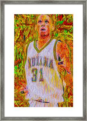 Reggie Miller Nba Indiana Pacers Basketball Digitally Painted Framed Print by David Haskett