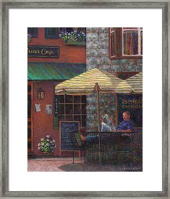 Relaxing At The Cafe Framed Print by Susan Savad