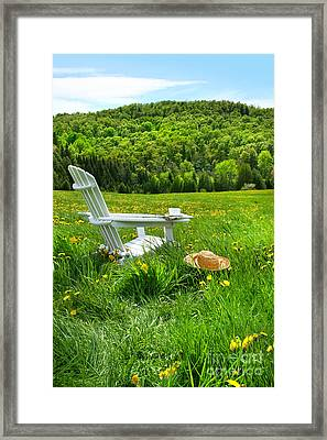 Relaxing On A Summer Chair In A Field Of Tall Grass  Framed Print by Sandra Cunningham