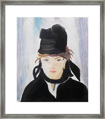 Remake Portrait Of Berthe Morisot Framed Print by Keshava Shukla