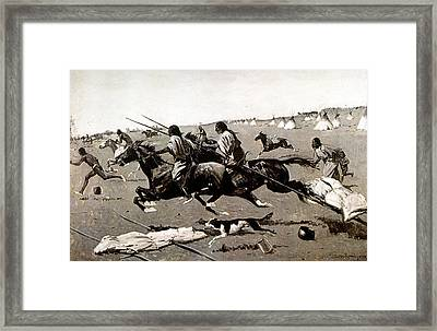 Remington: Native American Village Framed Print by Granger