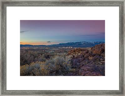 Reno Spring Sunrise Ovserlook Framed Print by Scott McGuire