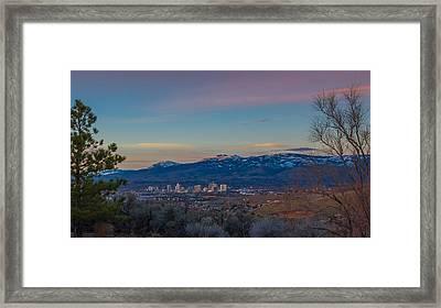 Reno Sunrise Natural Frame Framed Print by Scott McGuire