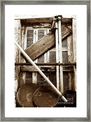 Repair In Athens Framed Print by John Rizzuto