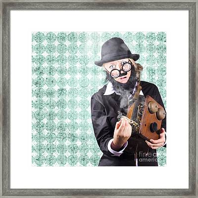 Repair Man Showing Communication Service Down Framed Print by Jorgo Photography - Wall Art Gallery