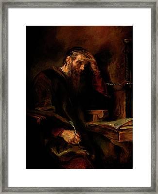 Replica Of Rembrandt's Apostle Paul Framed Print by Tigran Ghulyan