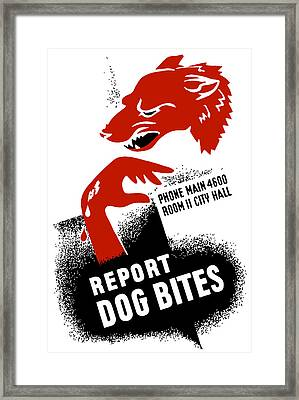 Report Dog Bites - Wpa Framed Print by War Is Hell Store