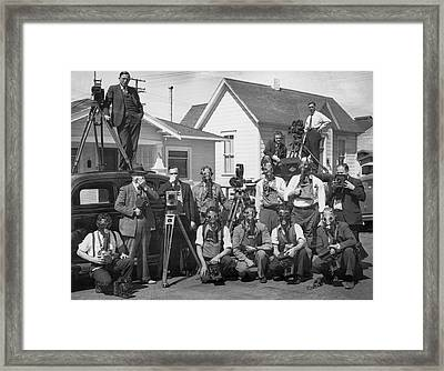 Reporters With Gas Masks Framed Print by Underwood Archives