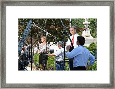 Reporting From The Supreme Court Framed Print by Cora Wandel