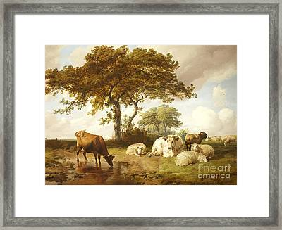 Repose In The Meadows, Framed Print by Thomas Sidney Cooper