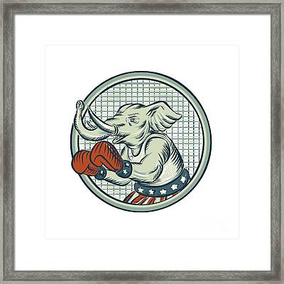 Republican Elephant Boxer Mascot Circle Etching Framed Print by Aloysius Patrimonio