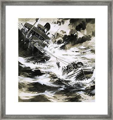 Rescue At Sea Framed Print by Wilf Hardy