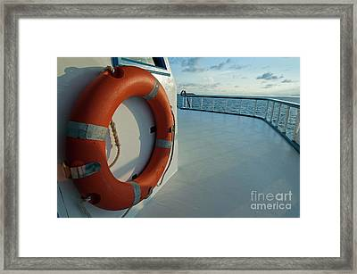 Rescue Buoy On A Boat Middle Deck Framed Print by Sami Sarkis