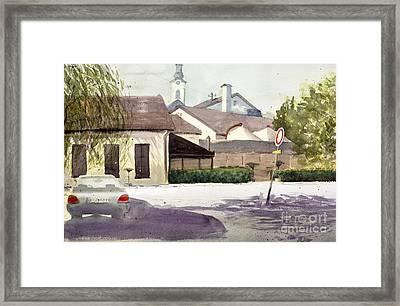 Restaurant Carp Zemun Serbia - Original Watercolor Art By Nenad Kojic Framed Print by Nenad Kojic