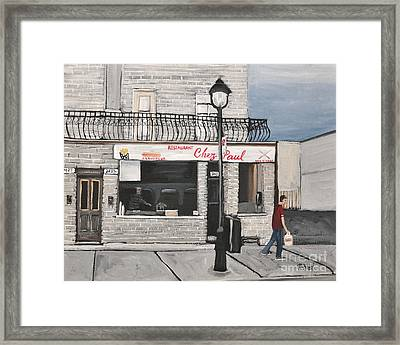 Restaurant Chez Paul Pointe St. Charles Framed Print by Reb Frost