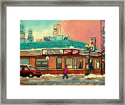 Restaurant Greenspot Deli Hotdogs Framed Print by Carole Spandau