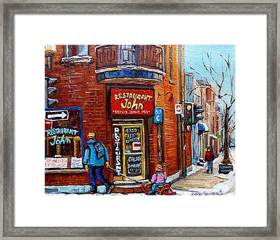 Restaurant John Montreal Framed Print by Carole Spandau