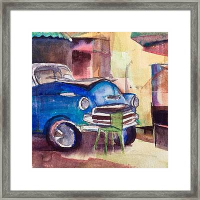 Resting Chevy With Green Chair Framed Print by Lynne Bolwell