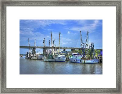 Resting Shrimp Boats Tybee Island Georgia Art Framed Print by Reid Callaway