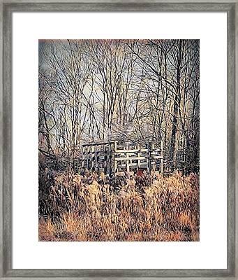 Retired Hay Wagon Framed Print by Jenn Teel