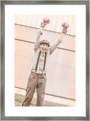 Retro Boxing Champion Celebrating A Win Framed Print by Jorgo Photography - Wall Art Gallery