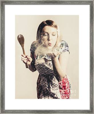 Retro Cooking Woman Giving Recipe Kiss Framed Print by Jorgo Photography - Wall Art Gallery