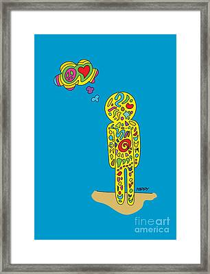 Retro Design Hippy Design 60s And 70s A Hippy  Framed Print by Paul Telling