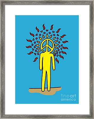 Retro Design Hippy Design 60s And 70s Peace Be In You Framed Print by Paul Telling