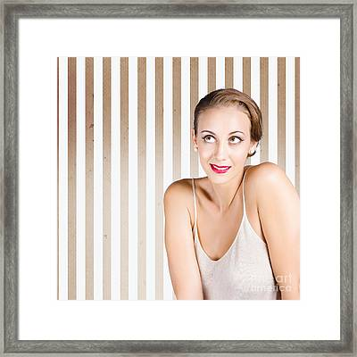 Retro Fashion Model Looking At Copyspace Framed Print by Jorgo Photography - Wall Art Gallery