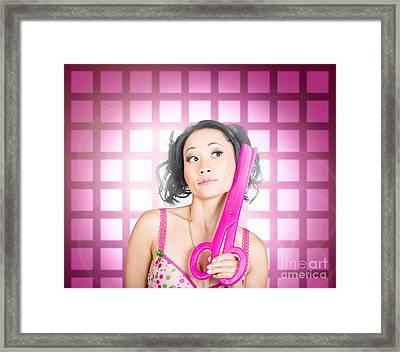Retro Hairdresser Holding Big Pair Of Scissors Framed Print by Jorgo Photography - Wall Art Gallery