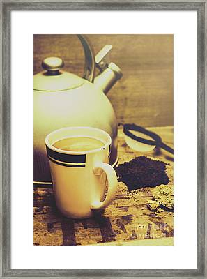 Retro Kettle With The Mug Of Tea Framed Print by Jorgo Photography - Wall Art Gallery