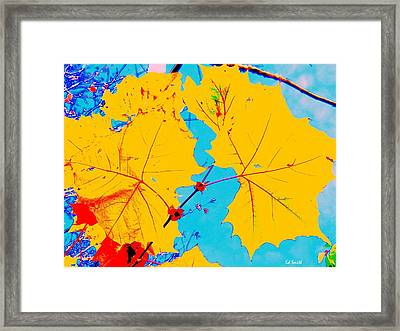 Retro Leaves Framed Print by Ed Smith