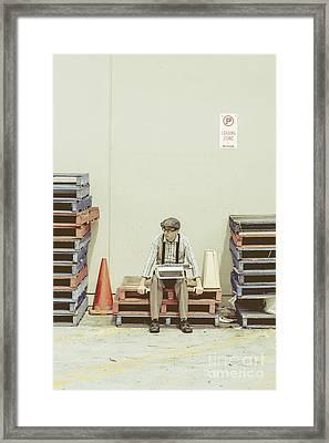 Retro Man Dreaming Up Literary Ideas Framed Print by Jorgo Photography - Wall Art Gallery