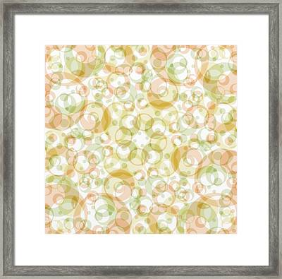 Retro Pattern In Light Earth Tones On White  Framed Print by Gina Lee Manley