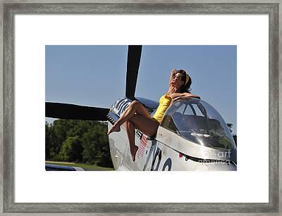 Retro Pin-up Girl Sitting Framed Print by Christian Kieffer
