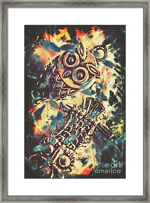 Retro Pop Art Owls Under Floating Feathers Framed Print by Jorgo Photography - Wall Art Gallery