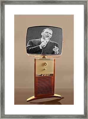 Retro Sinatra On Tv Framed Print by Matthew Bamberg