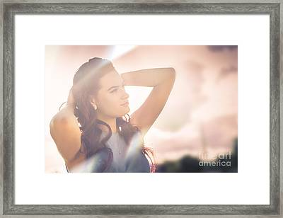 Retro Summer Pinup Girl In Bright Rays Of Sunlight Framed Print by Jorgo Photography - Wall Art Gallery