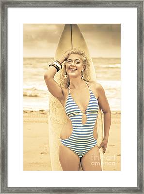 Retro Surfing Framed Print by Jorgo Photography - Wall Art Gallery