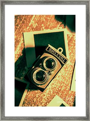 Retro Toy Camera On Photo Background Framed Print by Jorgo Photography - Wall Art Gallery