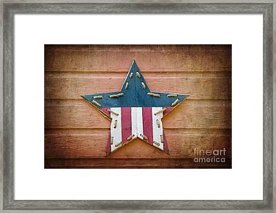 Retro Usa Star Framed Print by Jane Rix